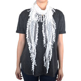 Lace Scarf with Flower Print & Melon Seed Fringe