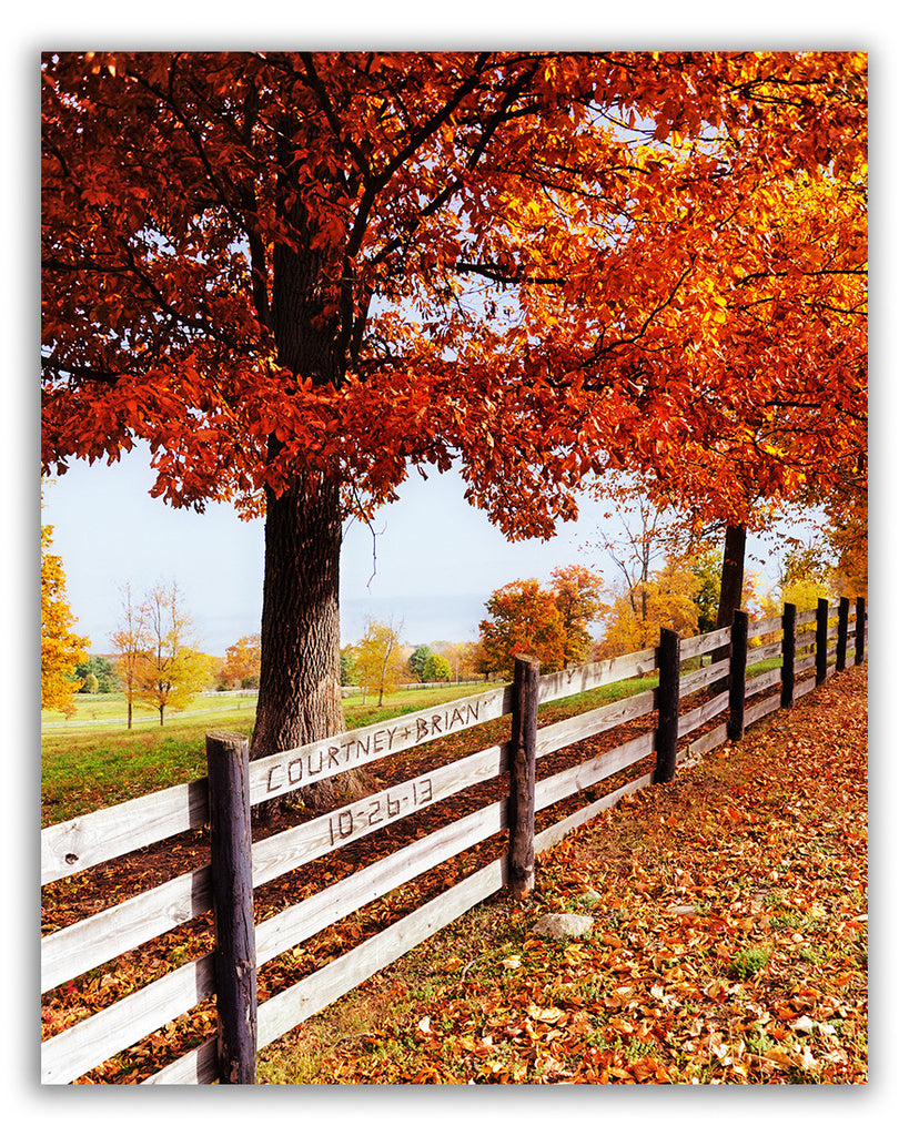 personalised picture autumn fence