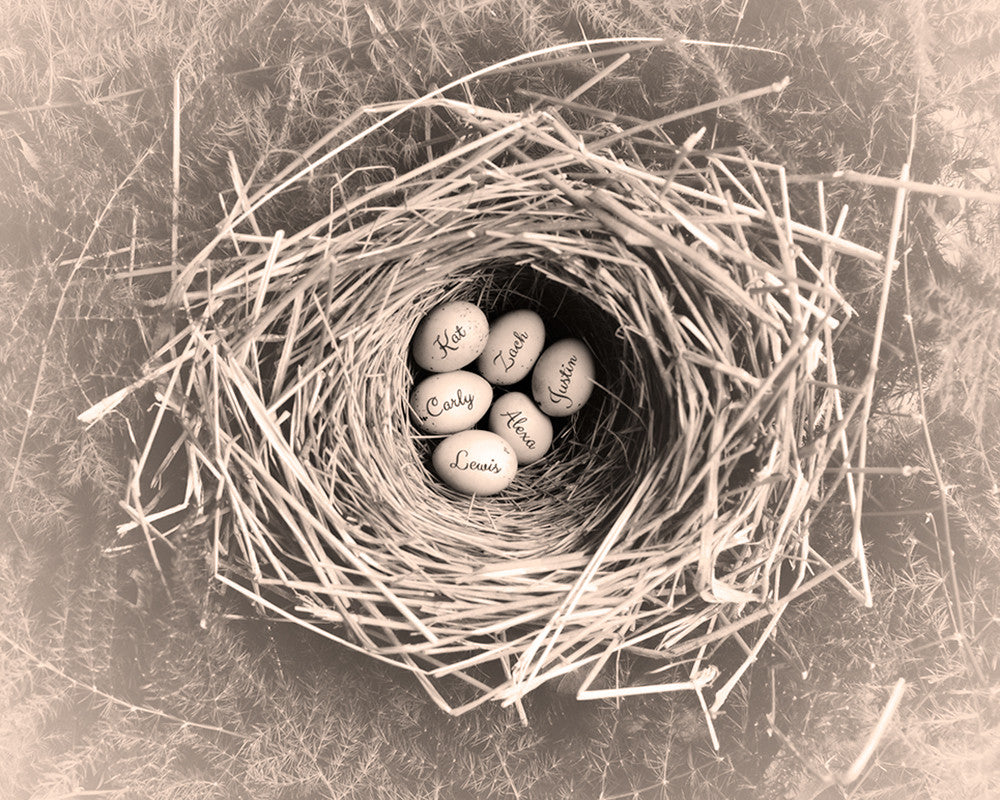 mothers nest art print sepia