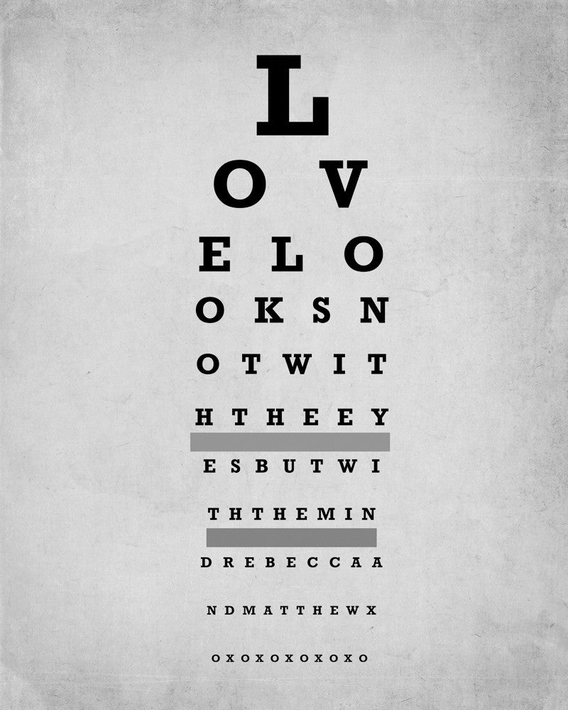 personalized eye chart wall art