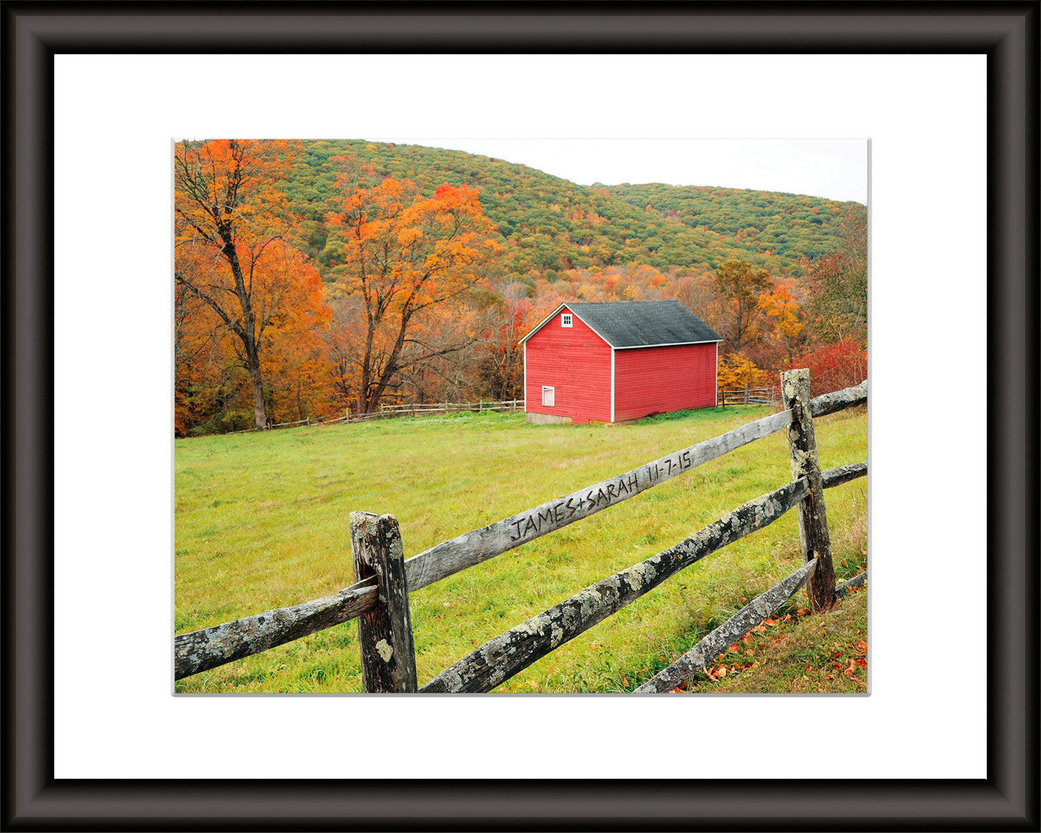 Personalized Photo Wall Art Carved Fence With Barn