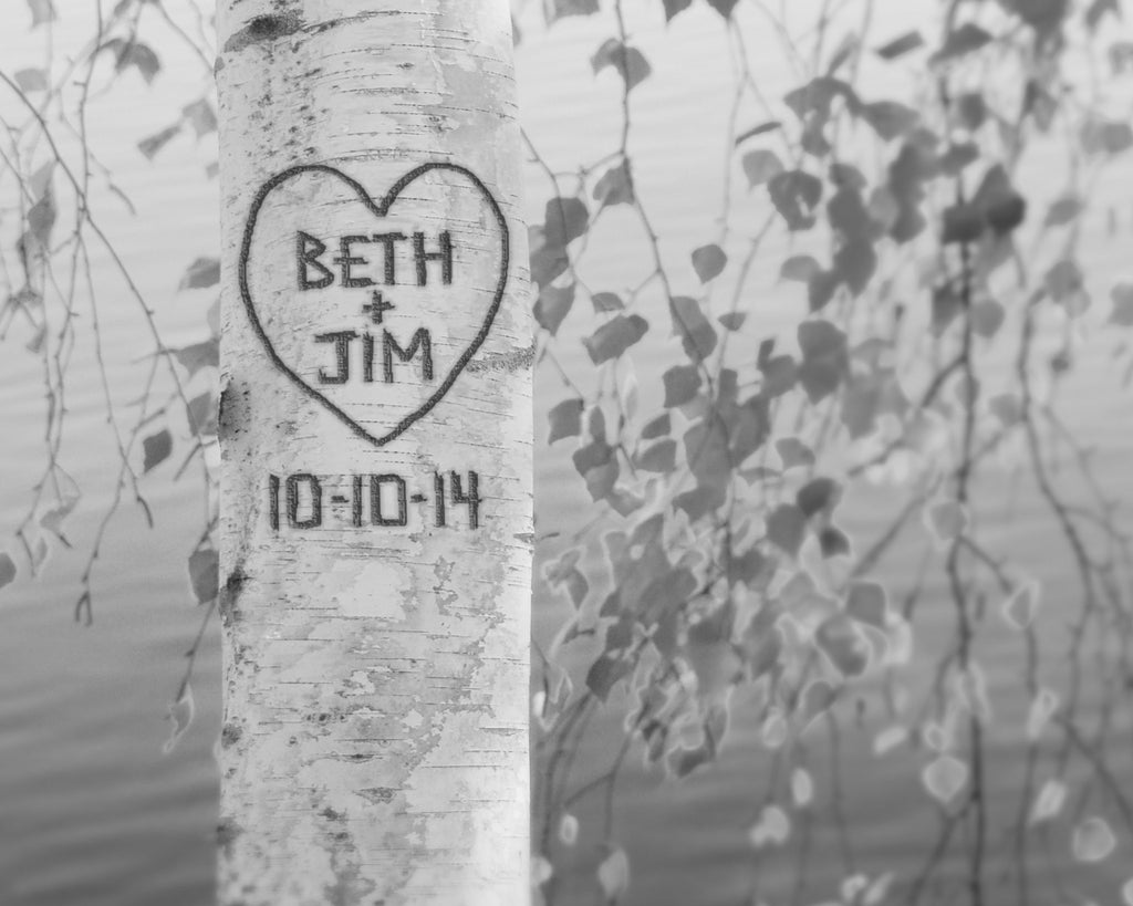 black and white image personalized birch tree