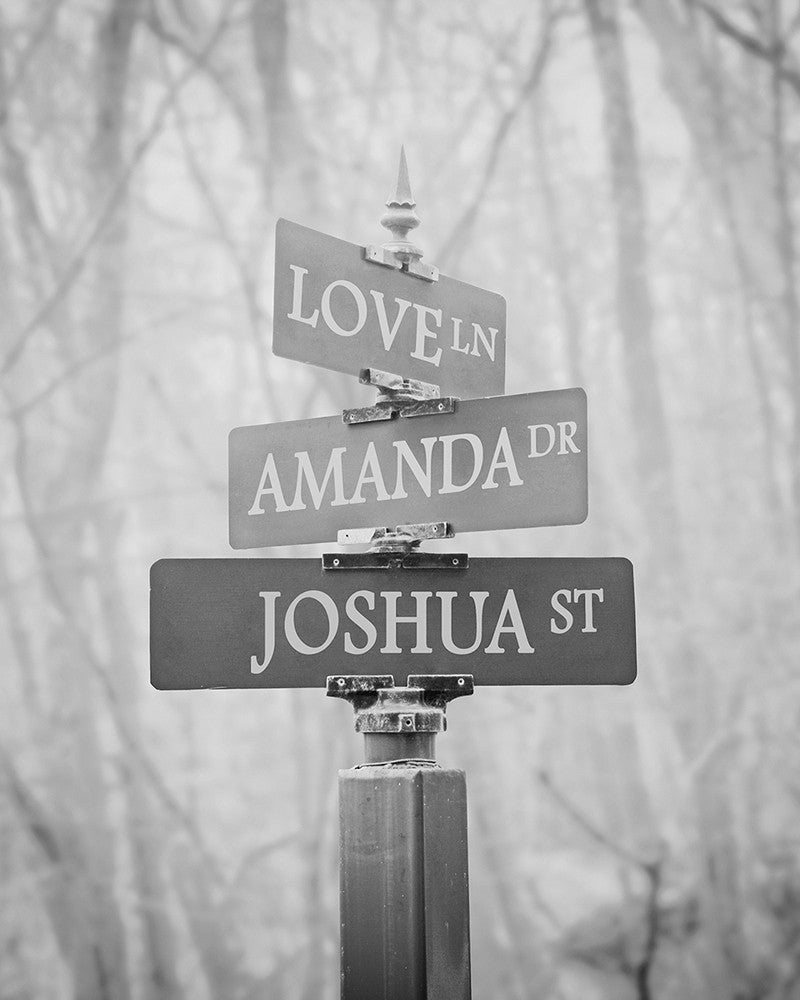 personalized street sign wall art black and white