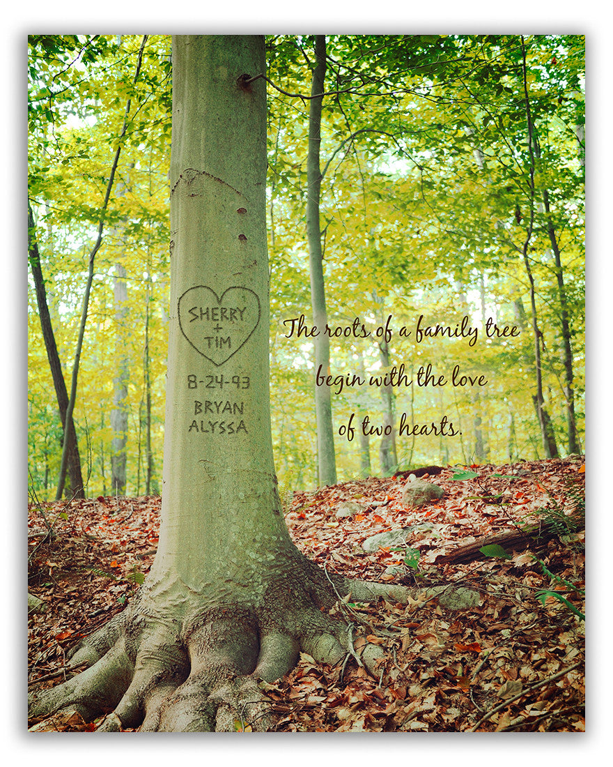 Carved Tree Heart Custom Print Roots Of Love