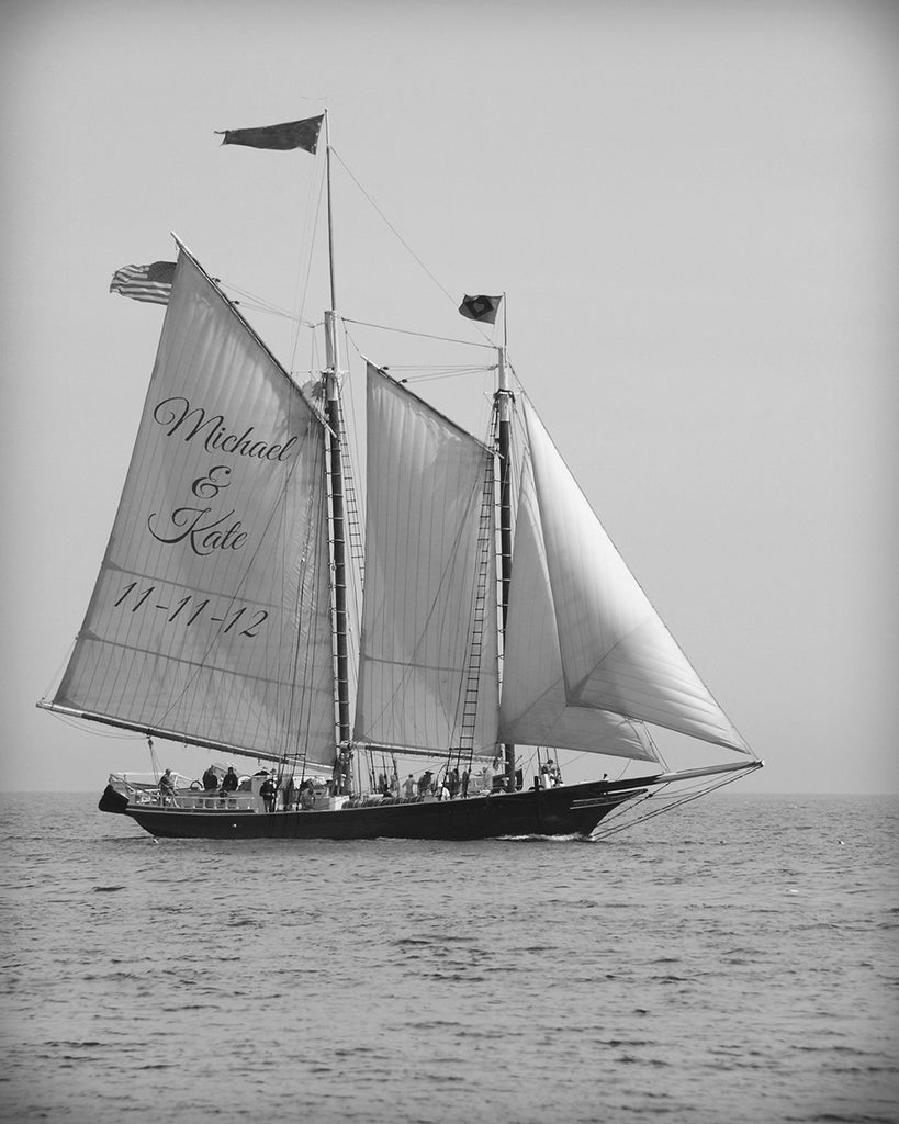 personalized sailing art black and white