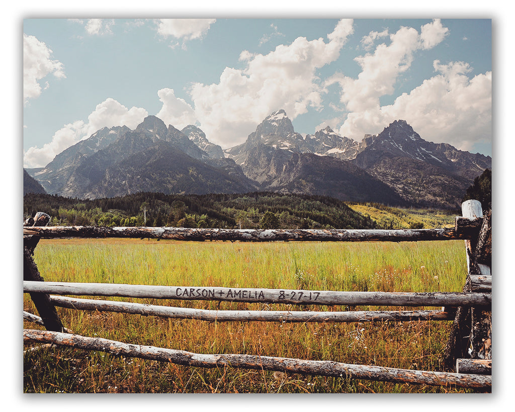 Mountain Fence Personalized Wall Art