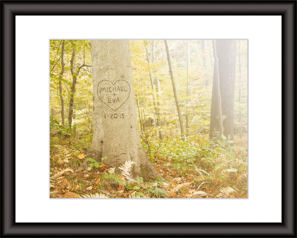personalized print with carved tree