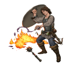 The swashbuckler uses alchemist's fire on his foes.