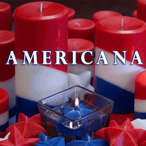 Americana Pillar Candles Red, White and Blue.