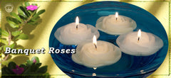 Floating banquet rose unscented candles for weddings and special events.