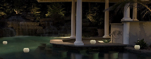 Floating Lotus pool luminary candle.