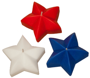 Floating star candles for the red, white and blue patriotic celebrations and ceremonies.