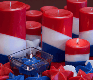 Red, White and Blue Pillar Candles - Armadilla Wax Works Candle Factory Store