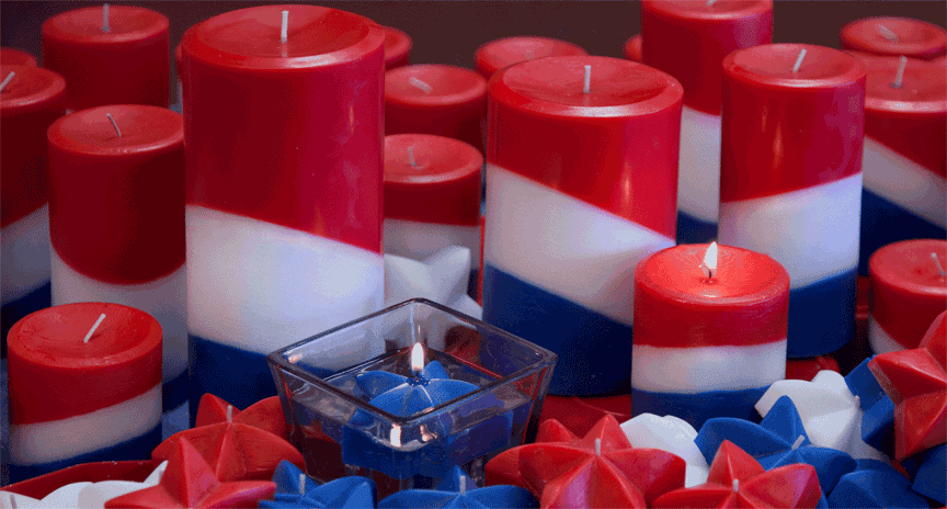 Red White and Blue unscented pillar candles for Americana decor.
