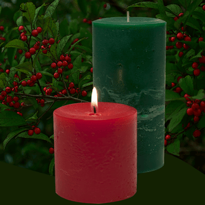 Scented Bayberry Pillar Candles - Armadilla Wax Works Candle Factory Store