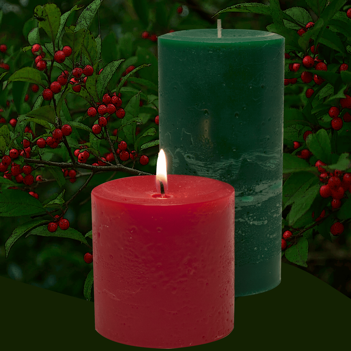 The best classic Bayberry scented pillar candles, a traditional holiday fragrance.