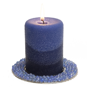 Pearl blue bead edge candle plate - Armadilla Wax Works Candle Factory Store