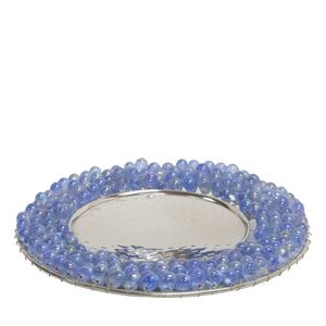 Blue Pearl bead edge candle plate - Candle Factory Store