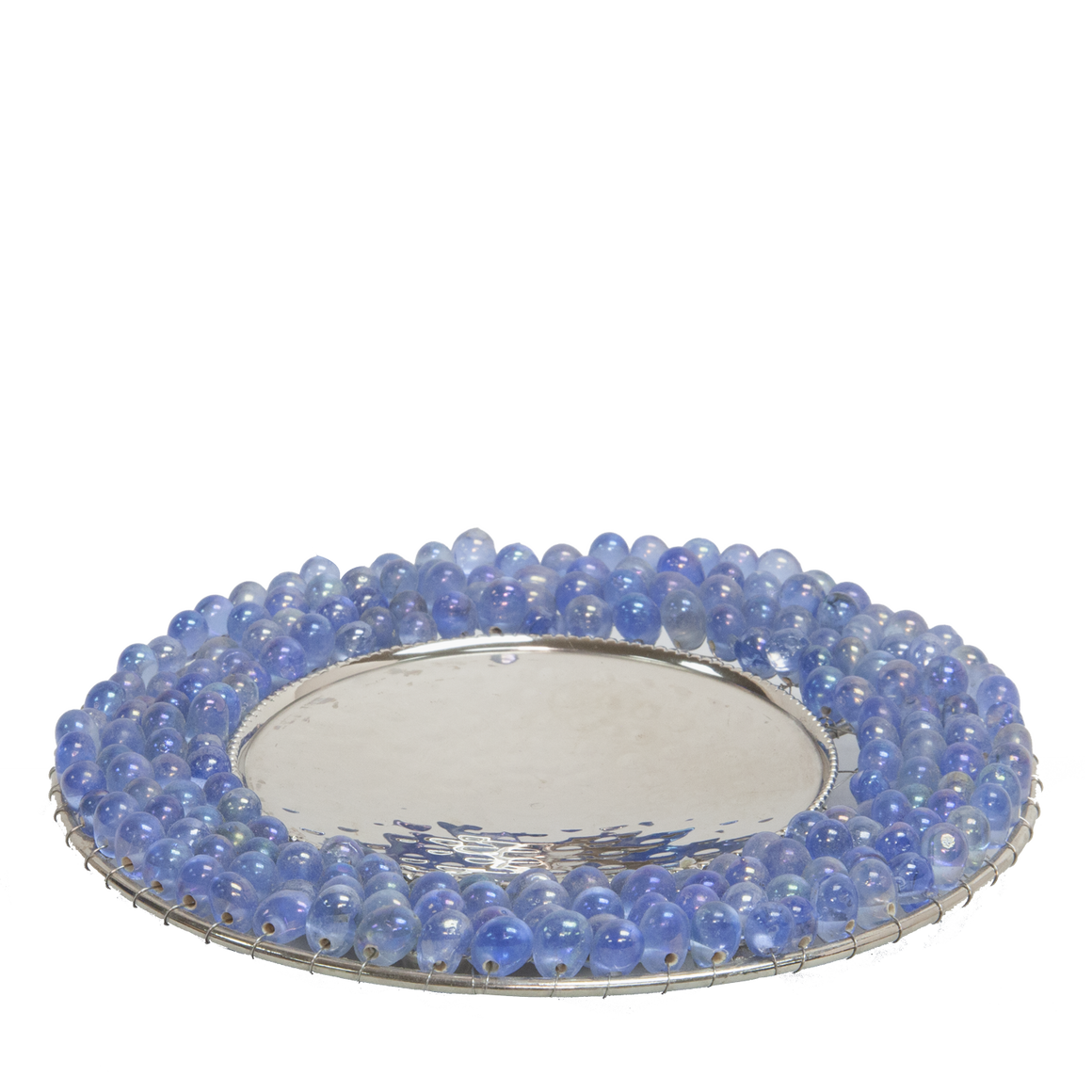 Pearl blue bead edge candle plate - Candle Factory Store