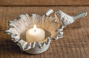 Rustic white, bird on a leaf candle holder - Candle Factory Store