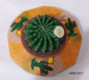 Large Cactus Candle and Ceramic Holder
