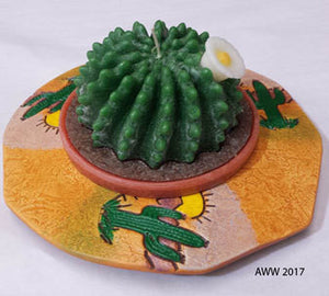 Large Cactus Candle and Ceramic Holder - Armadilla Wax Works Candle Factory Store