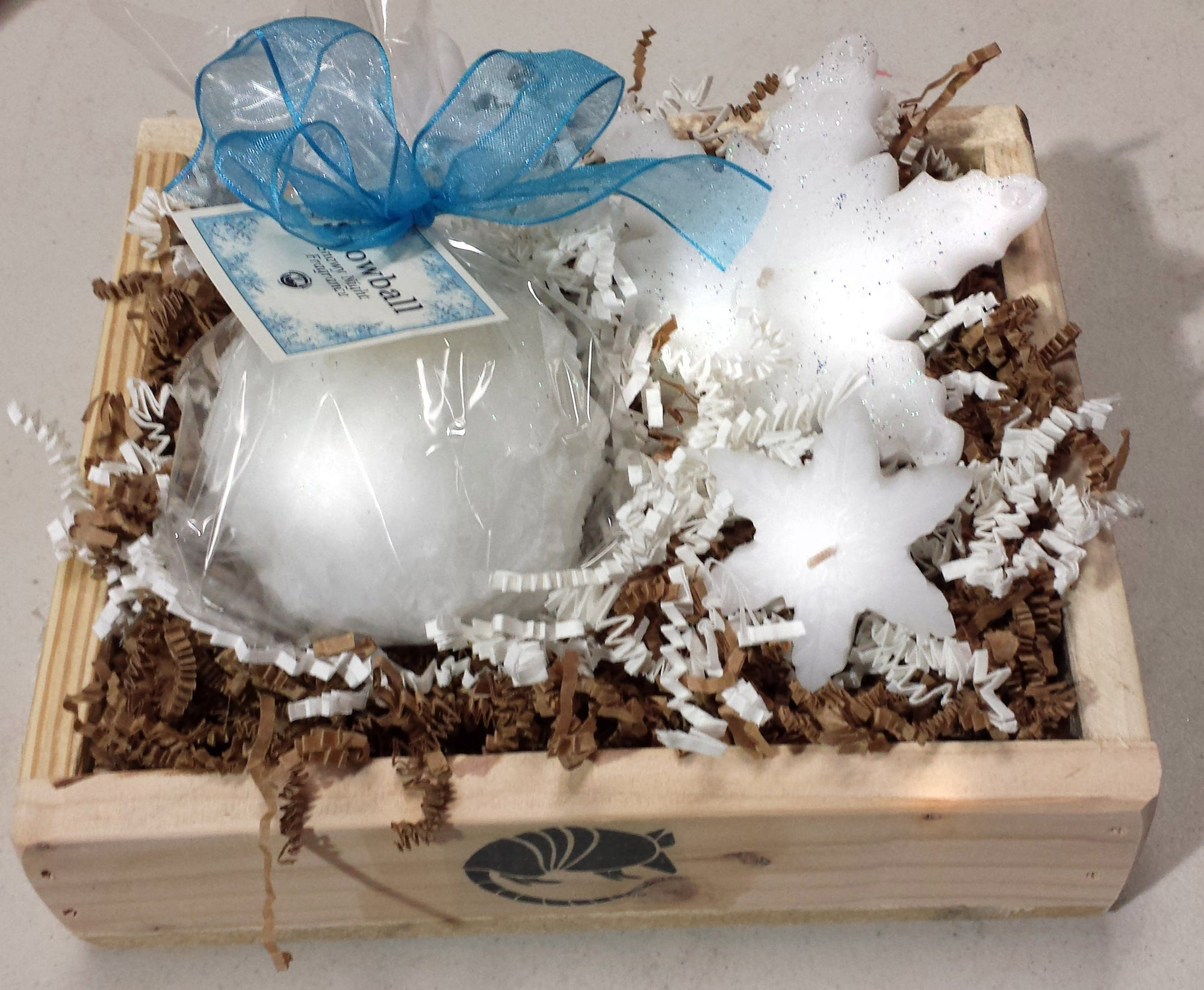Gift Crate: Snowy Night Snowball and Snowflake gift crate - Candle Factory Store