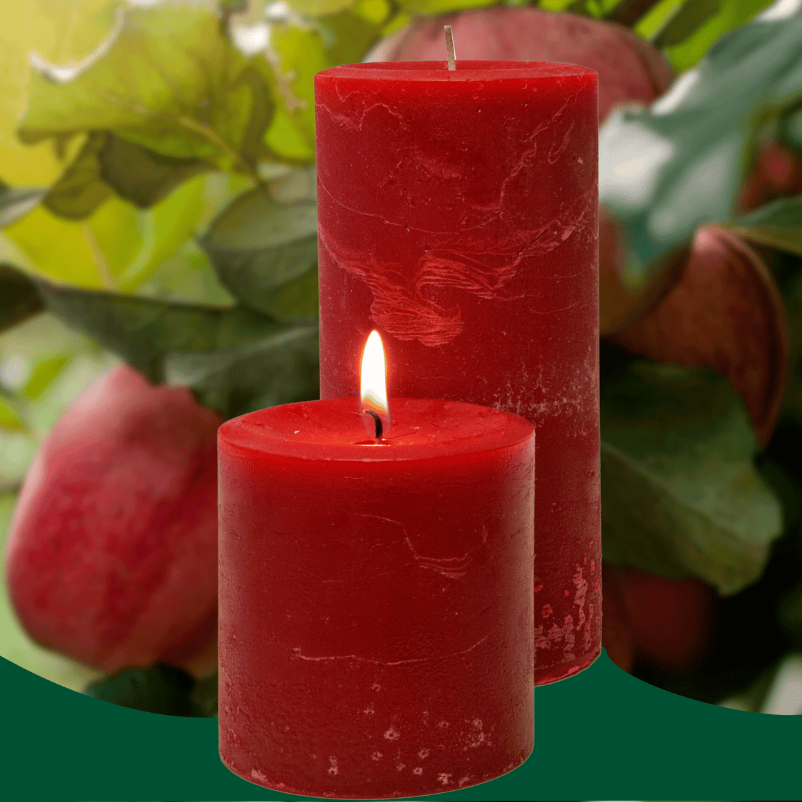 Double Fragrance  Apple Crisp Pillar Candles