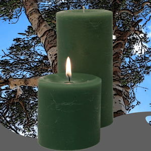 Eucalyptus scented pillar candles to refresh your home and your spirit made by Armadilla Wax Works.