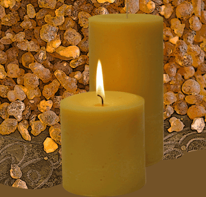 Warm beautiful Frankincense scented pillar candles for the unmistakenable aroma and soothing candlelight.