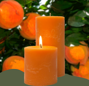 Delicious Peach Nectar scented pillar candles.