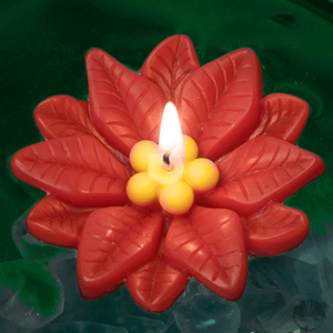 Poinsettia floating candles for holiday decor and gifts with 7 hour burn time.