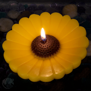 Large 5 inch floating sunflower candle for pond, pool or birdbath.