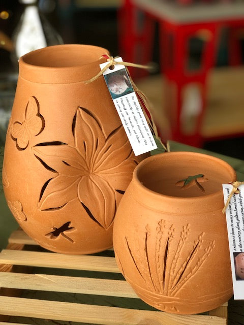 Terracotta Luminary, votive holder. - Candle Factory Store