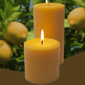 Lemondrop scented pillar candles made by Armadilla Wax Works.