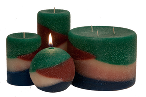 Scented pillar candles with earthy colors and amazing fragrances handmade in our own molds.