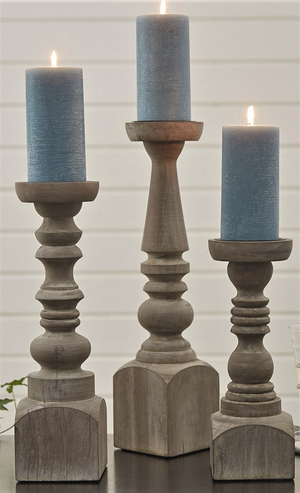 Brighton wood pillar holder, 15 inch - Candle Factory Store