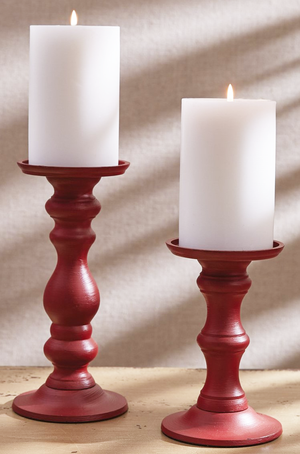 Red Metal Pillar Holder, medium - Candle Factory Store