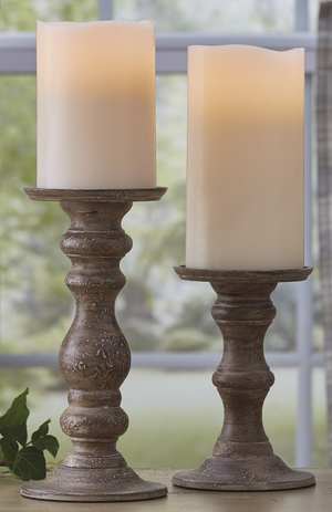 Taupe Distressed Metal Pillar Holder, medium - Candle Factory Store