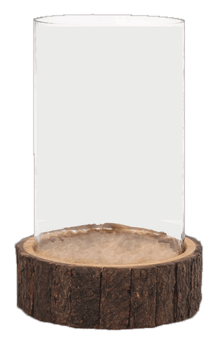 Ridgley Bark Edge Hurricane, Medium - Candle Factory Store