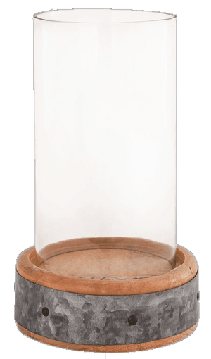 Rustic wood and Metal trim base, Hurricane - Candle Factory Store