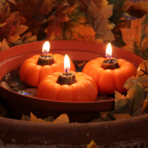 Plump and practical pumpkin candles for gift baskets and Thanksgiving decor.