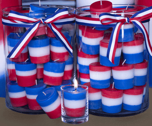 Red, White and Blue Votive candles - Armadilla Wax Works Candle Factory Store