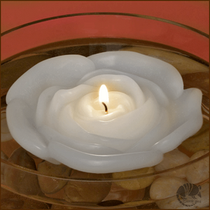 White Rose Blossom 5 inch large Floating Candle.