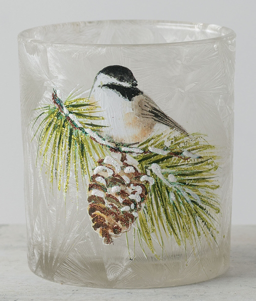 Chickadee design frosted votive holder - Candle Factory Store