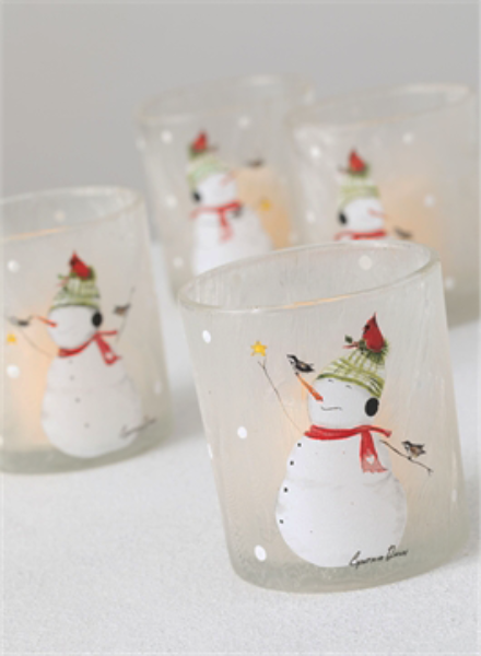 SNOWMAN frosted votive holder - Candle Factory Store