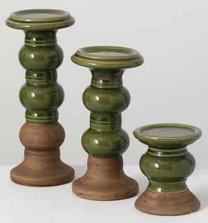 Ceramic two tone olive pillar holders - Armadilla Wax Works Candle Factory Store