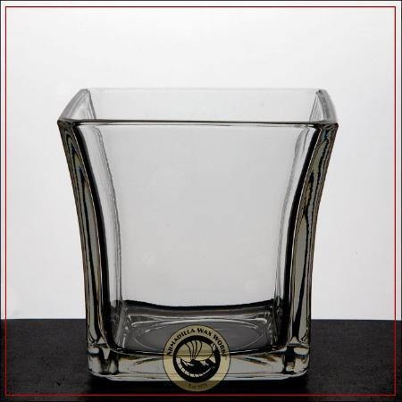 Square Flare, SINGLE, glass candle holder, 4 inch