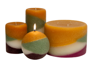 Wine Country scented pillar candles with Tuscany theme colors and fragrances.