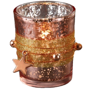 Votive holder, Rose Gold Star decorated - Candle Factory Store